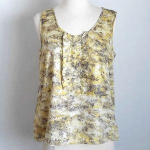 Talbots Yellow/Gray Ruffle Sleeveless Top- Petite